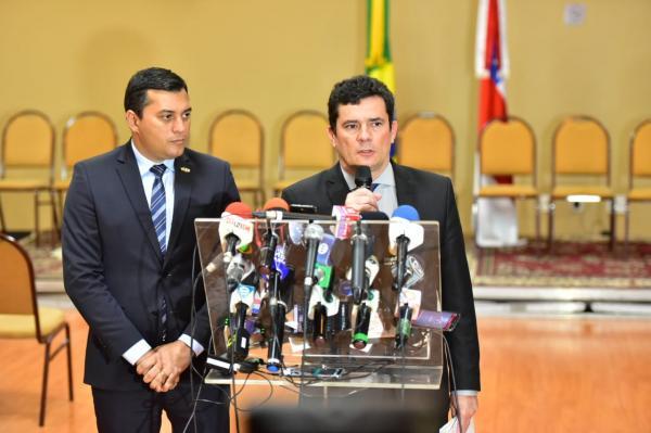 Wilson Lima discute com ministro Sérgio Moro cooperação do Governo Federal no combate ao narcotráfico