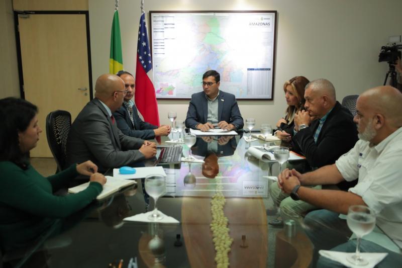 Wilson Lima reúne com diretores de companhia aérea que vai operar rota Manaus-Caracas-Ilha de Margarita