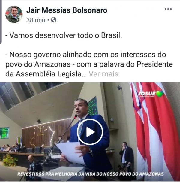 Bolsonaro compartilha vídeo de Josué Neto em favor do AM