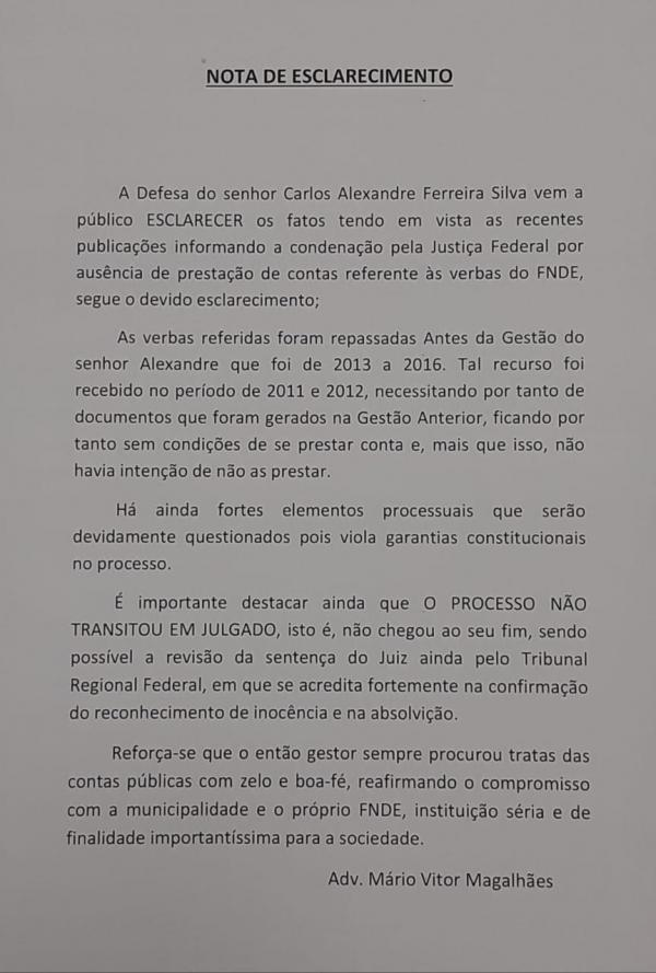 Advogado de Carbrás anuncia que vai recorrer da condenação, pois ex-prefeito não recebeu documentos para prestar contas