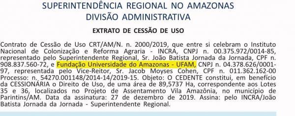 INCRA libera área na Vila Amazônia para curso de Zootecnia da UFAM atuar, publicação saiu hoje no Diário Oficial