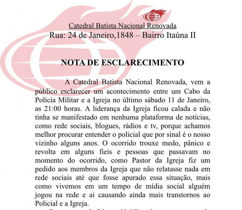 Nota da Igreja CBNR de Parintins sobre o caso envolvendo Cabo PM