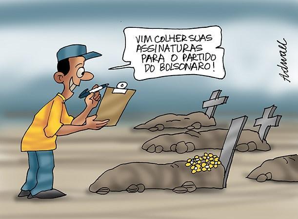 Explicação da Assinatura dos Mortos no Partido Aliança Brasil de Bolsonaro Charge