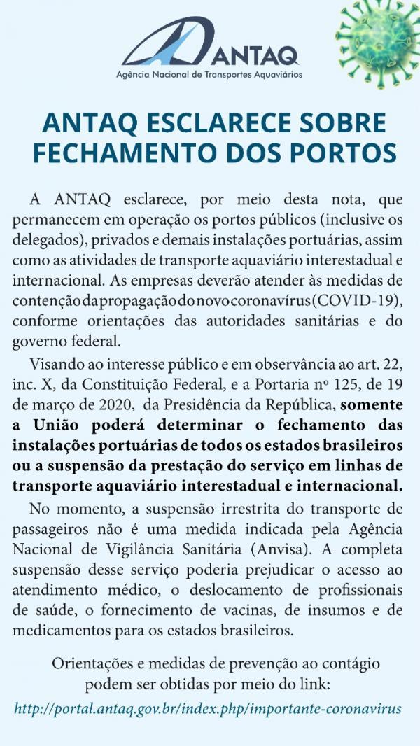 ANTAQ  diz que Barcos do Pará estão liberados no Amazonas para viagens interestadual e internacional