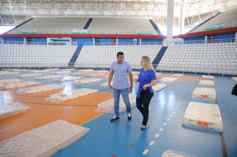 Governo do Amazonas instala abrigo emergencial na Arena Amadeu Teixeira