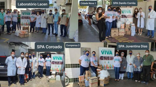 Assembleia doa álcool gel, máscaras e outros materiais de proteção para profissionais de quatro instituições de saúde