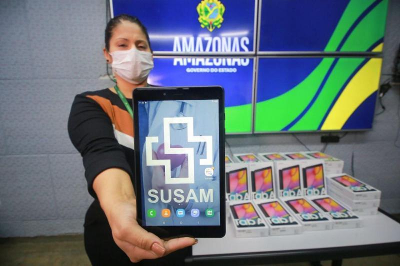 Tablets doados por empresa do Polo Industrial de Manaus vão ajudar FVS e unidades de saúde no monitoramento da Covid-19