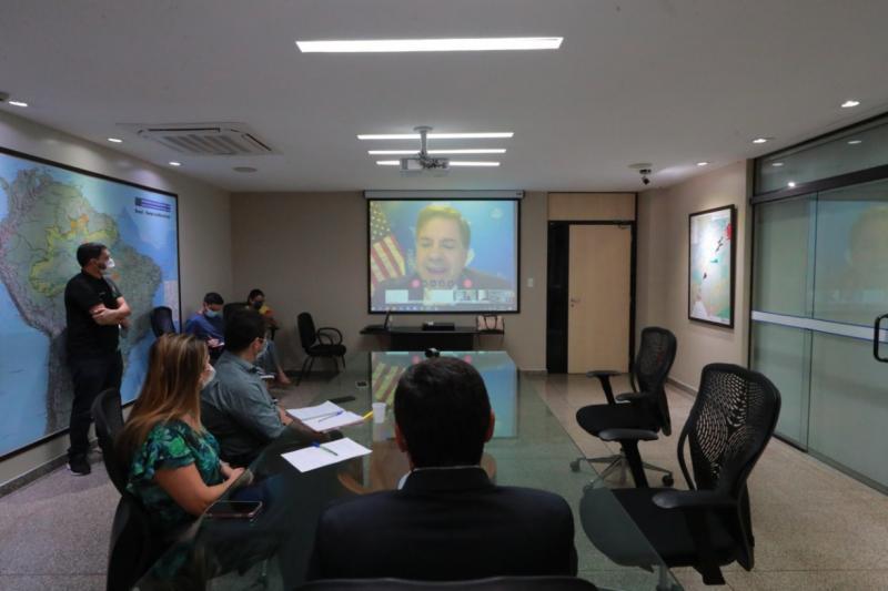 Em videoconferência, Wilson Lima agradece doação de um milhão de EPIs feita pelo governo dos EUA
