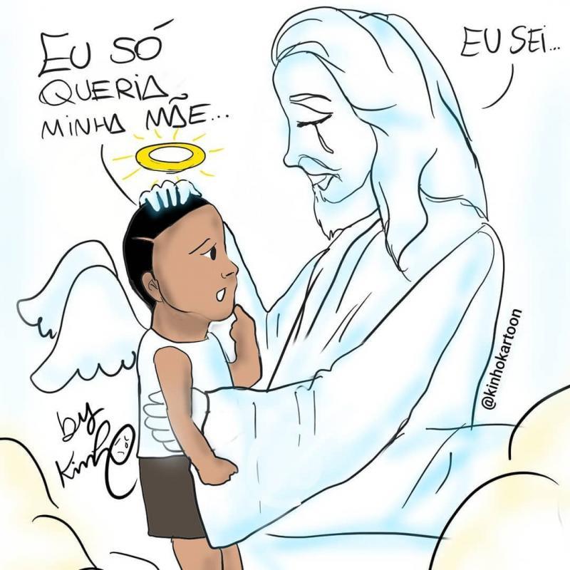 Cartunista desenha Miguel com asas de anjo sendo recebido por Jesus no céu: 'fiquei muito triste com essa tragédia'