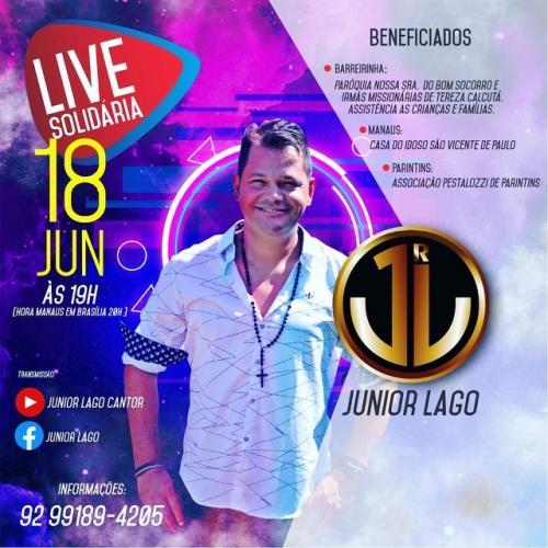 Cantor Júnior Lago faz live solidária neste dia 18 de junho