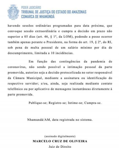 Juiz manda presidente da Câmara de Nhamundá empossar vereadora Alessandra
