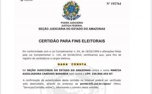 Certidões do Poder Judiciário colocam Márcia Baranda como candidata 'Ficha Limpa' de Parintins