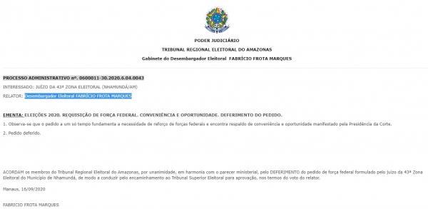 Força Federal fiscalizará a eleição de Nhamundá 2020, aprova TRE-AM