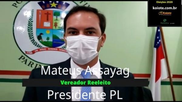 Mateus Assayag agradece votos dos eleitores e diz que vai trabalhar pela cidade e interior
