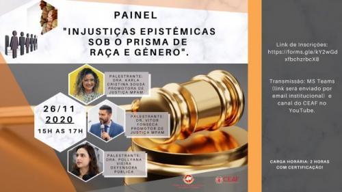 Ministério Público discute Injustiças Epistêmicas, raça e gênero, nesta quinta