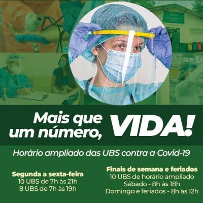 UBSs preferenciais com horário ampliado contra a Covid - 19