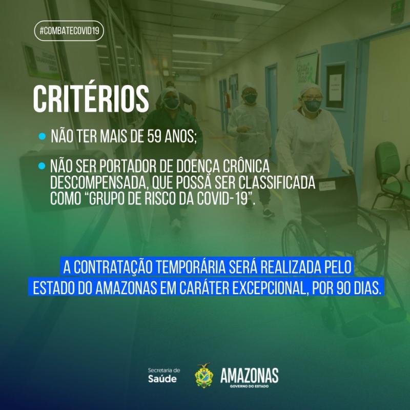 Covid-19: Ministério da Saúde convoca profissionais da área em processo seletivo no Amazonas