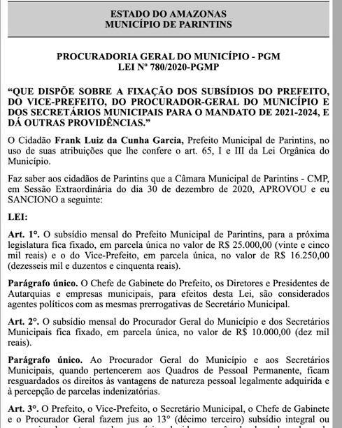 Novo salário do prefeito, vice-prefeito, secretários e extraordinários de Parintins
