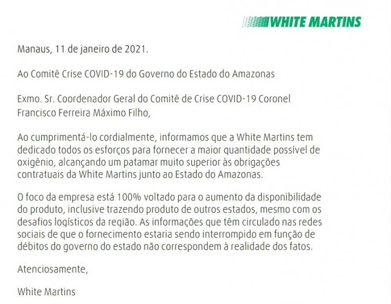 White Martins nega interrupção de fornecimento de gás por débitos financeiros