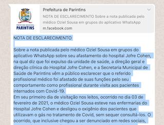 Em nota prefeitura e direção do Hospital Jofre Cohen classificam de antiético falas do médico Osiel Souza