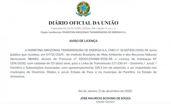IBAMA libera instalação da Linha de Transmissão à empresa Parintins Amazonas Energia