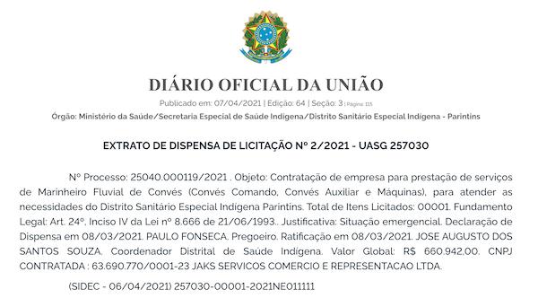 Dsei Parintins faz contrato de R$ 660 mil com Jaks Serviço modalidade dispensa de licitação