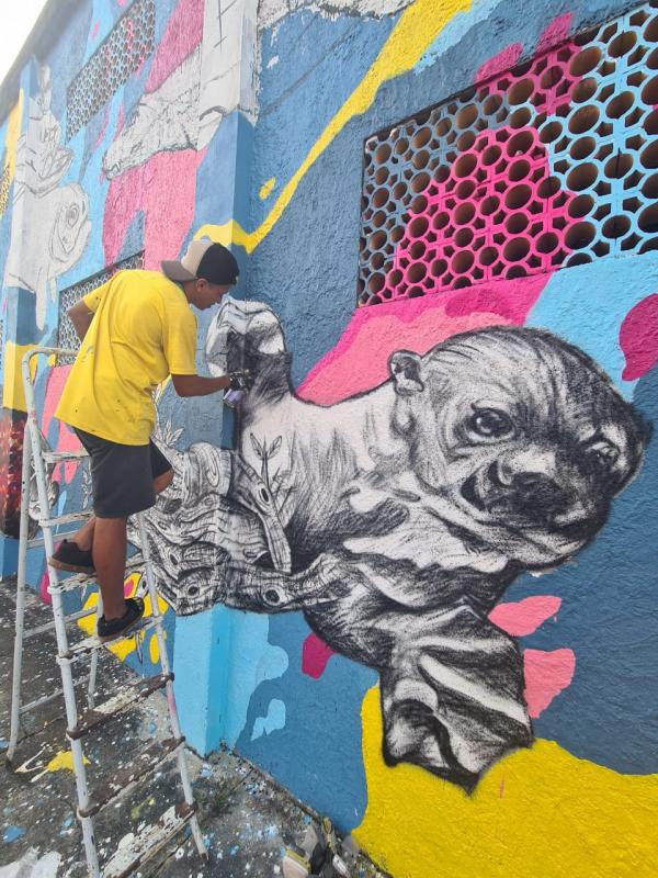 Aquário Amazônico: Artistas inauguram nesta sexta-feira o maior mural de graffiti do Baixo Amazonas