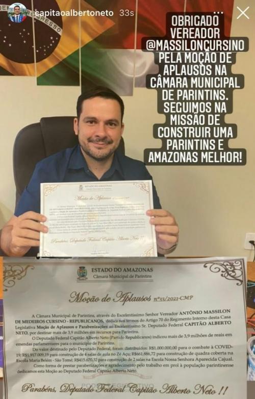 Massilon recebe agradecimento pela moção de aplausos ao Dep. Federal Cap. Alberto Neto