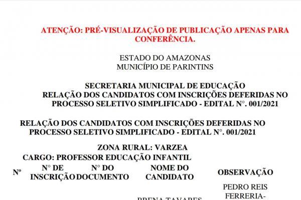 Prefeitura de Parintins divulga relação de inscrições deferidas no Processo Seletivo da Educação para a Área de Várzea