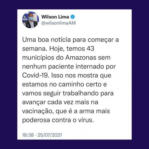 Mais de 40 cidades no Amazonas não tem pacientes internados por COVID-19, comemora governador Wilson Lima