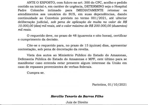 Juiz manda direção do Hospital Padre Colombo retomar atendimento público do SUS, sob pena de multa diária de 10 mil reais