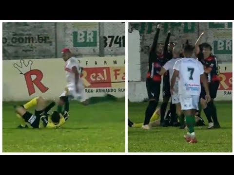 Jogador agride árbitro com chute na cabeça em jogo da segunda divisão do Campeonato Gaúcho