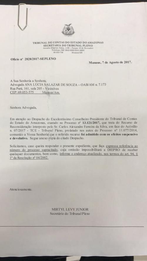 TCE concede ao ex-prefeito Alexandre da Carbrás efeito suspensivo da prestação desaprovada na Câmara