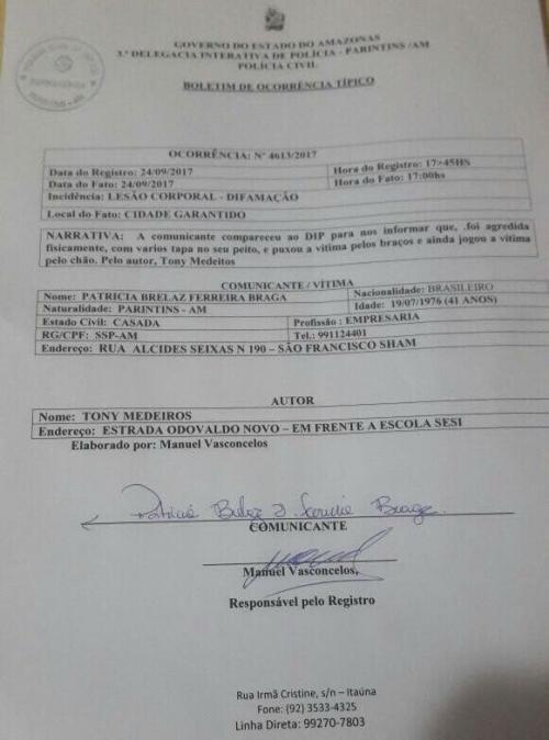 Tony Medeiros é denunciado e também denunciante na Delegacia de Parintins após eleição do Garantido
