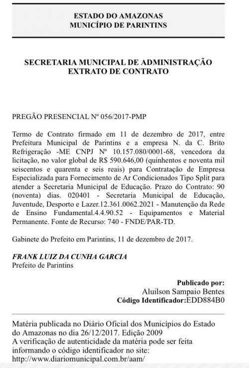 SEMED/Parintins finaliza pregão de meio milhão com a  N. da C. Brito Refrigeração
