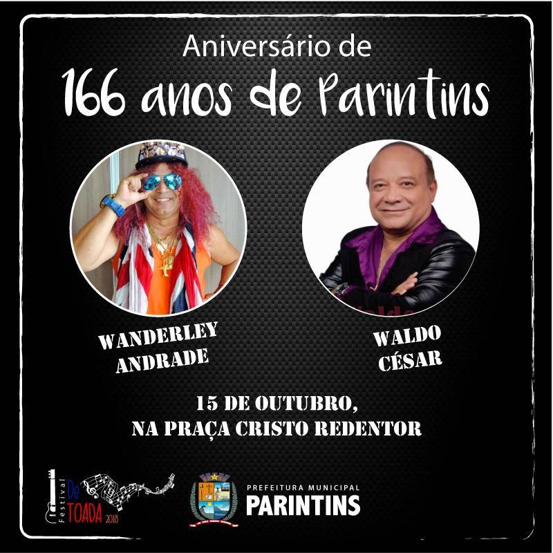 Wanderley Andrade e Waldo Cesar são atrações no aniversário de Parintins